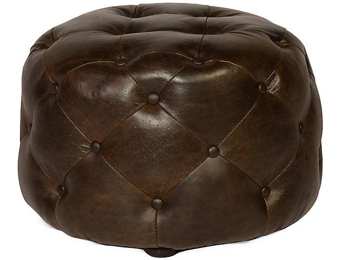 Luxurious Leather Medium Sized Mondavi Ottoman, Brown, , Large