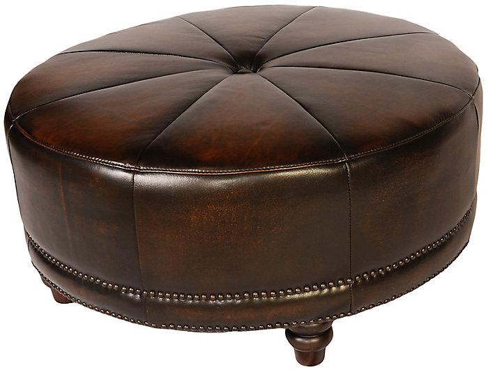 Premium-Leather Cindy Round Ottoman, Black, Black, large