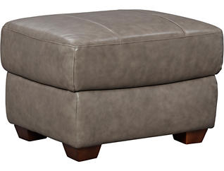 Genuine Leather Branson Ottoman, Grey, , large
