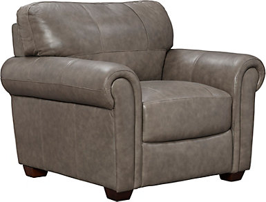 Genuine Leather Branson Chair, Grey, , large
