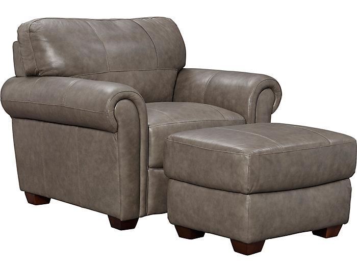 Genuine Leather Branson Chair Grey Large
