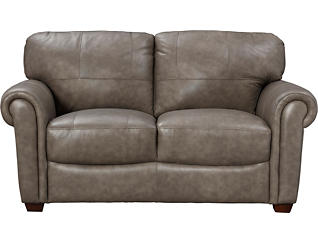 Genuine Leather Branson Loveseat, Grey, , large