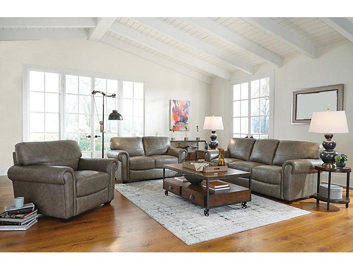 Genuine Leather Branson Sofa, Grey, , large