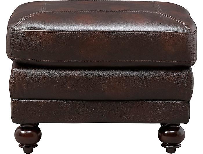 Genuine Leather Hayward Ottoman, Brown, , large