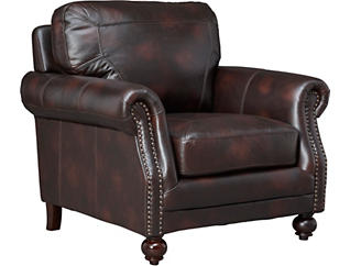 Genuine Leather Hayward Chair, Brown, , large