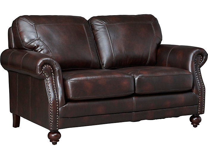 Genuine Leather Hayward Loveseat, Brown, , large