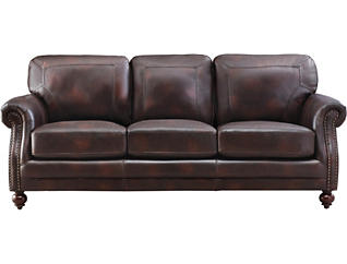 Genuine Leather Hayward Sofa, Brown, , large