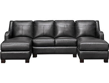 Presley 3 Piece Sectional with Double Chaise, Black, , large