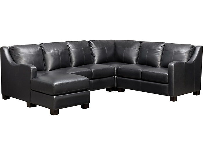 ... Presley 4 Piece Sectional With Left Arm Facing Chaise, Black, , Large  ...