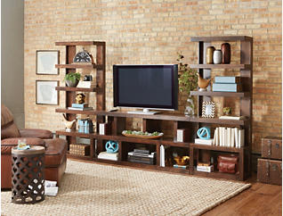 """Sausalito Whiskey Wall with 64"""" TV Stand, Brown, large"""