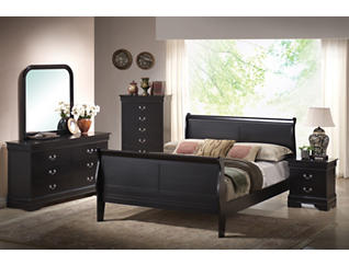 Philippe Black 5 Piece Full Bedroom Set, , large