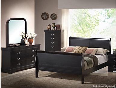 Philippe 5 Piece Queen Bedroom Set, Black, , large