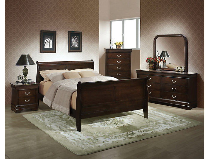 Philippe Full Bed, Merlot, , large