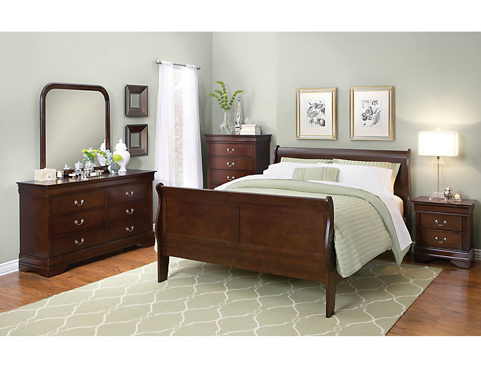 Philippe Queen Bed, Merlot, , large