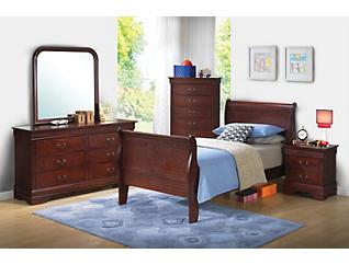 Philippe 5-piece Twin Bedroom Set, Merlot, , large