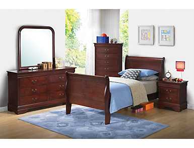 Philippe 5 Piece Twin Bedroom Set, Merlot, , large