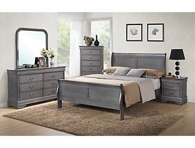 Philippe 5 Piece Full Bedroom Set, Grey, , large