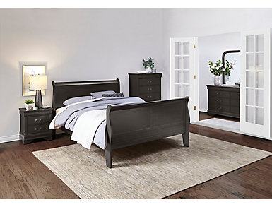 Philippe 4 Piece Full Bedroom Set, Grey, , large