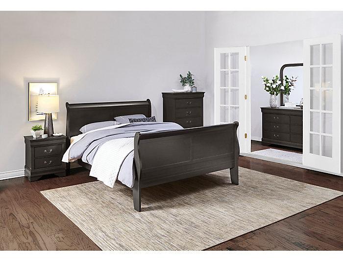 philippe 4 piece king bedroom set grey outlet at art van. Black Bedroom Furniture Sets. Home Design Ideas