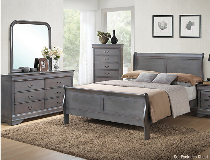 ... Philippe 6 Piece King Bedroom Set, Grey, , Large ...