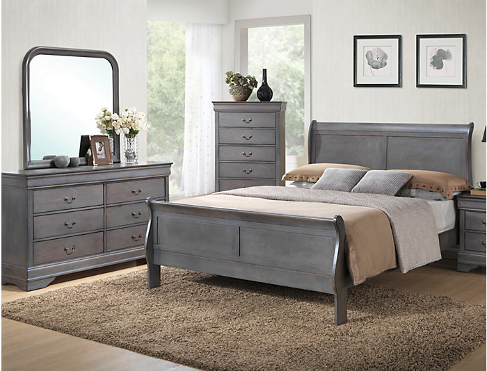 Philippe 7 Piece King Bedroom Set, Grey | Outlet at Art Van