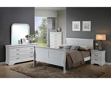 Philippe 5 Piece Full Bedroom Set, White, , large