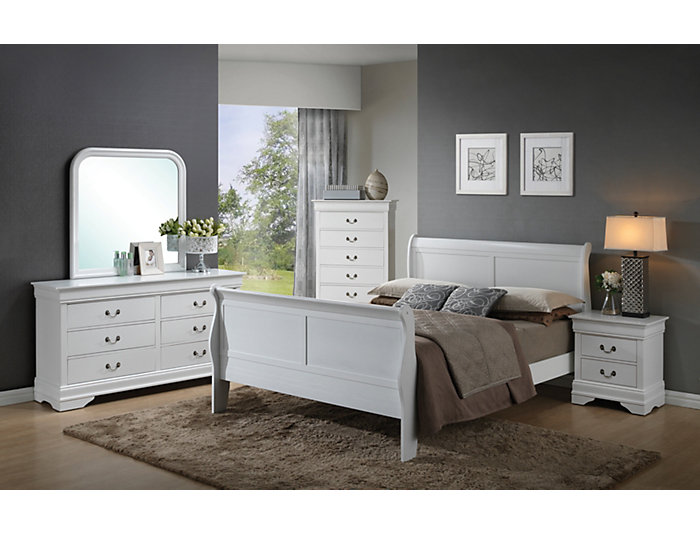 Philippe Queen Bed, White, , large