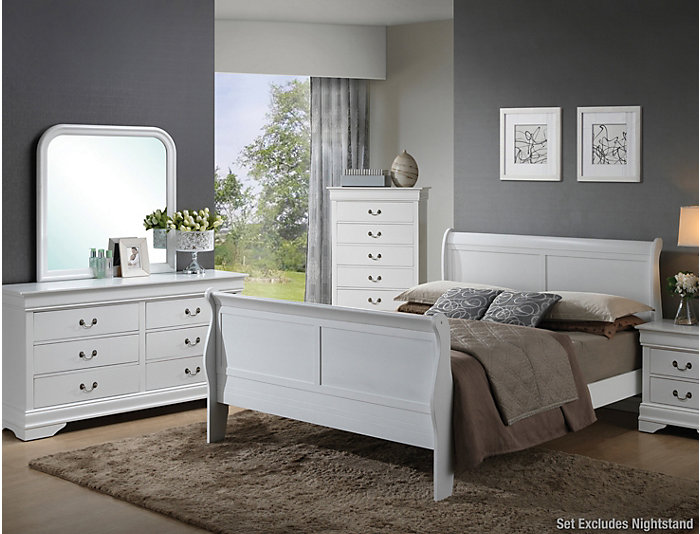 Philippe Twin Bedroom, Dresser, Mirror, Chest, Twin Bed. White Finish.