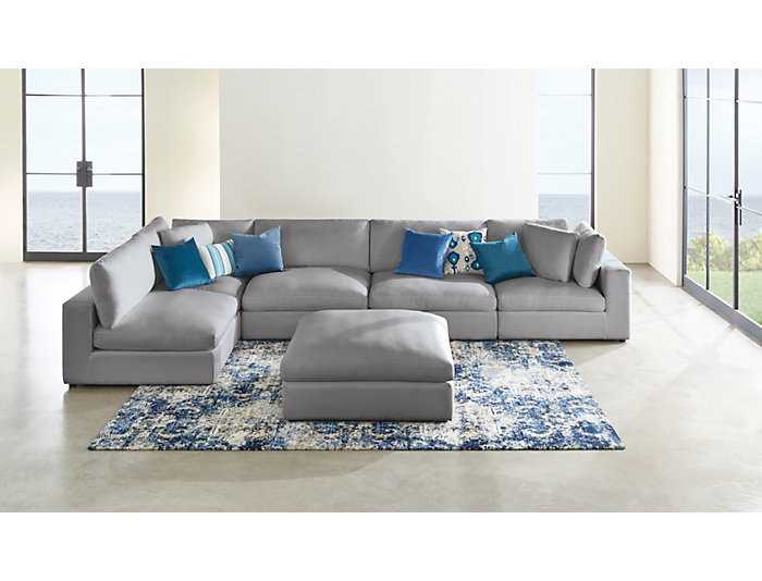 Excellent Dreamer 5 Piece Grey Sectional Caraccident5 Cool Chair Designs And Ideas Caraccident5Info