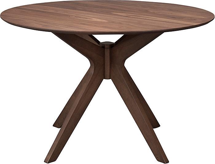 Space Saver Walnut Modern Round Dining Table