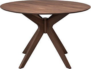 Space Saver Walnut Modern Round Dining Table, , large