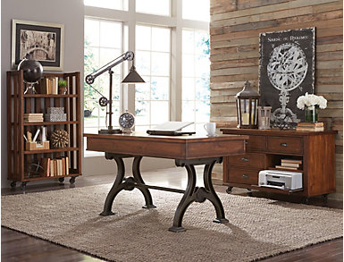 Arlington Cobblestone Brown Open Bookcase, , large