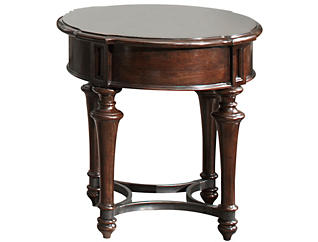 Kingston Round End Table, Brown, , large