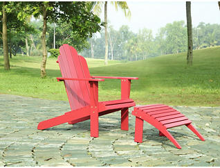 Adirondack Ottoman, Red, Red, large