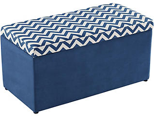Marie Navy Chevron Toy Chest, , large