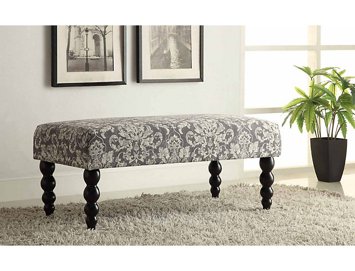 Claire Gray Damask Bench, , large