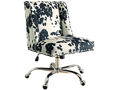 Draper Cow Print Office Chair, , large