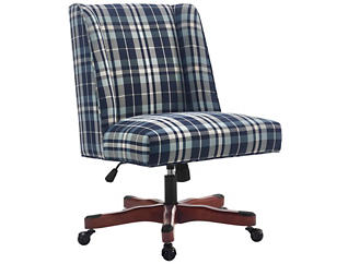 Draper Blue Plaid Office Chair, , large