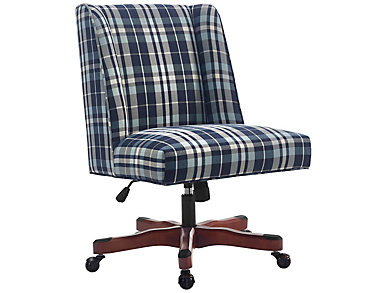 Draper Blue Plaid Office Chair, , large