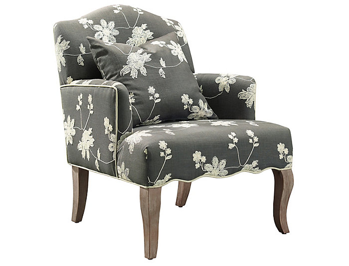 Attractive ... Emily Floral Arm Chair, Grey, , Large ...
