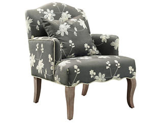Emily Floral Arm Chair, Grey, , large