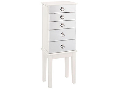 Eva White Jewelry Armoire, , large