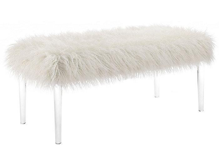 Faux Flokati Acrylic Leg Bench, , large