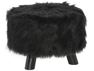 Black Faux Fur Foot Stool, , large