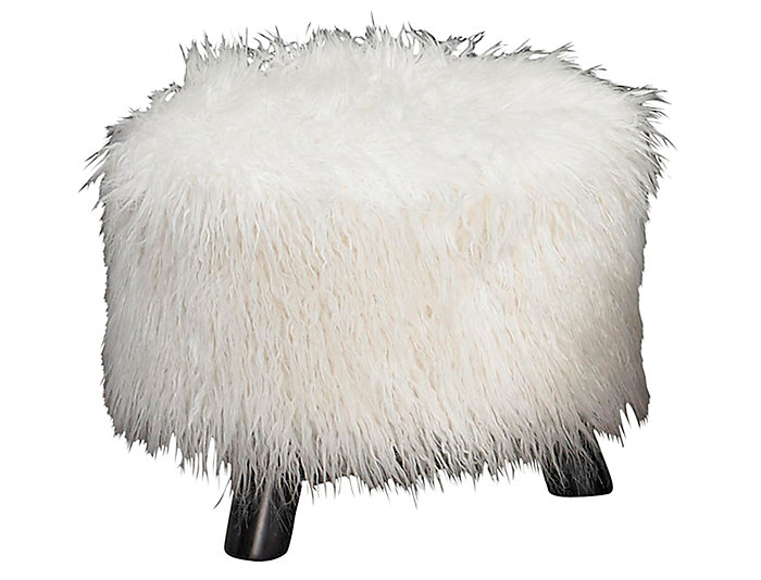 White Faux Fur Foot Stool, , large