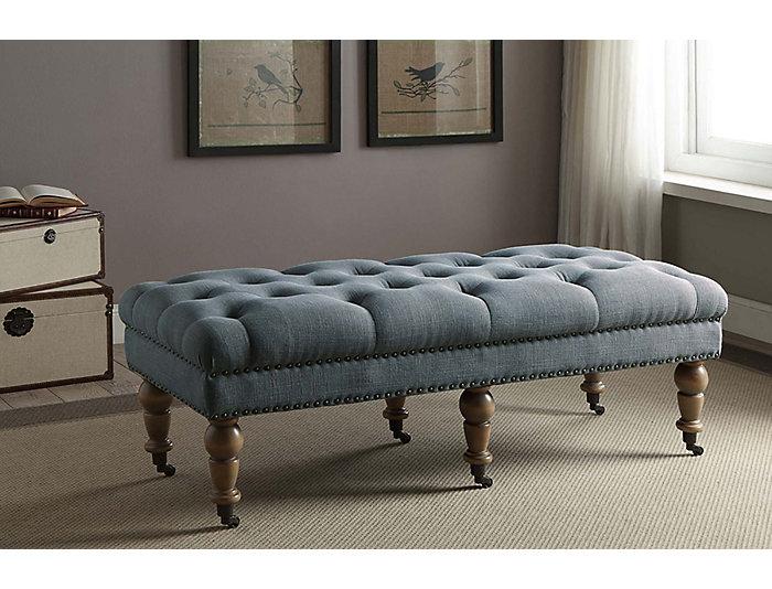 Isabelle Washed Blue Bench, , large