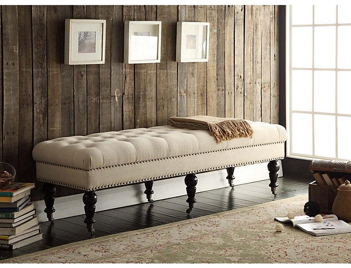 Isabelle Large Linen Bench, , large