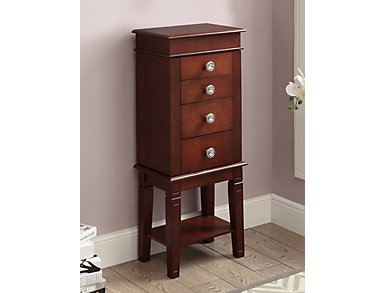 Madison Walnut Jewelry Armoire, , large