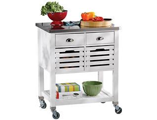Robbin White Wood Kitchen Cart, , large