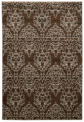 elegance damask brown 8x10 rug